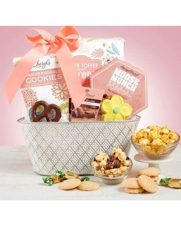 Full Bloom Sweet Treats Basket Flower Arrangement
