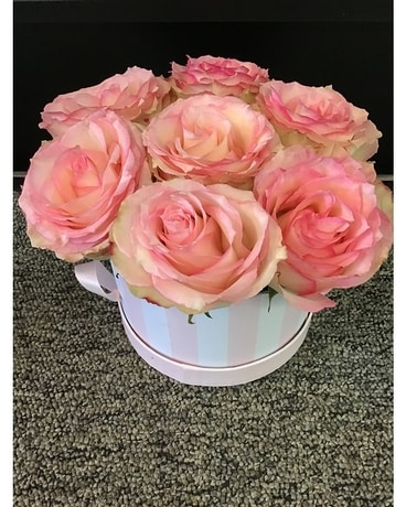Box Full of Love-White/Pink Flower Arrangement