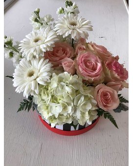 Flourishing flowering Hatbox Two Flower Arrangement