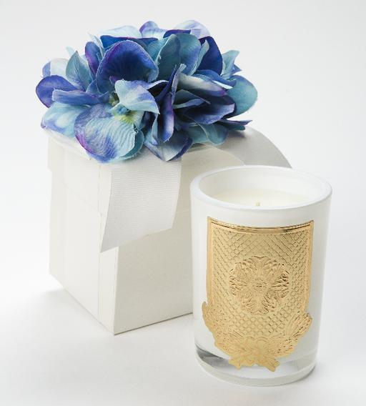 Blue Hydrangea LUX Candle - 08oz. Flower Box
