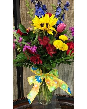 Bright spring mix in denison tx judys flower shoppe bright spring mix flower arrangement mightylinksfo