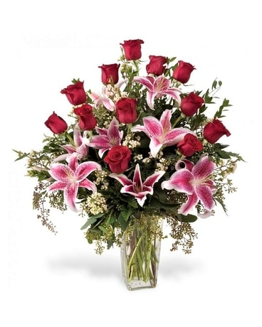 Roses and Stargazers Flower Arrangement