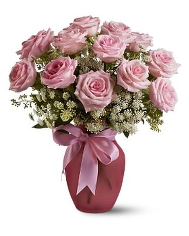 A Dozen Pink Roses and Lace Flower Arrangement