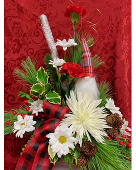 Gnome for the Holiday Flower Arrangement