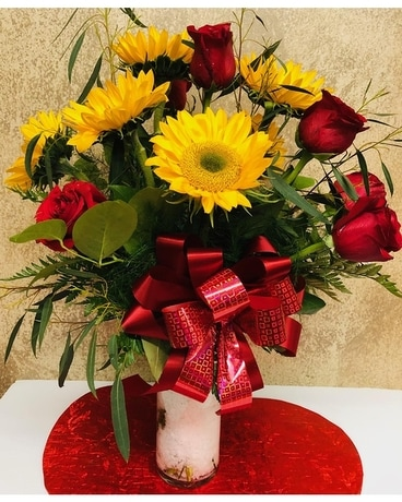 Sunflowers with Roses Flower Arrangement