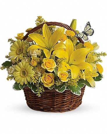 Basket Full of Wishes Flower Arrangement