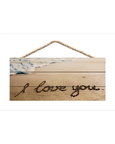 JUTE SIGN I LOVE YOU Flower Arrangement