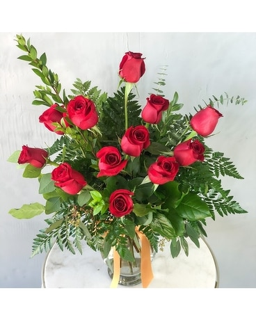 Dozen Red Roses Flower Arrangement