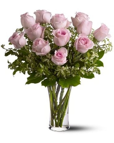 A dozen pink roses in albany ny emil j nagengast florist a dozen pink roses flower arrangement mightylinksfo