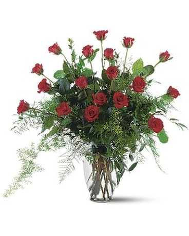 Red Rose Tribute Vase Flower Arrangement