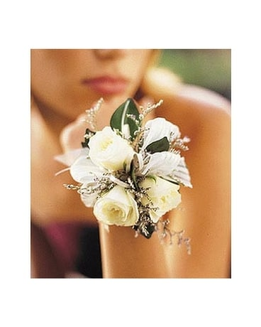 3 White Mini Roses Wristlet Flower Arrangement