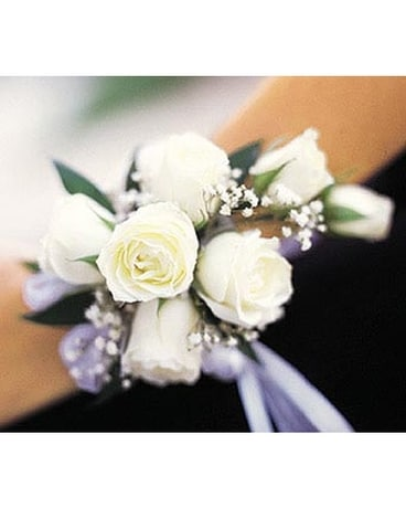 7 White Mini Roses Wristlet Flower Arrangement