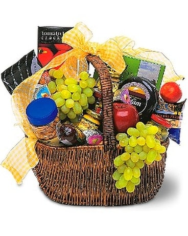 Gourmet Picnic Basket Flower Arrangement