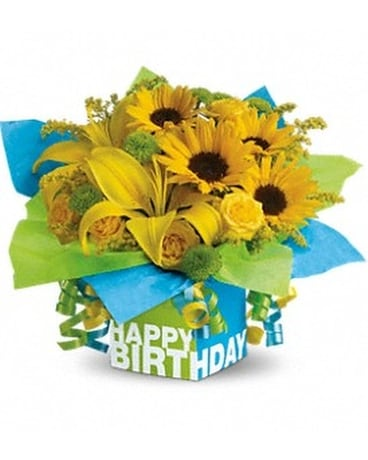 Teleflora's Sunny Birthday Present Flower Arrangement