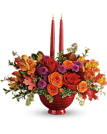 Teleflora's Brightest Bounty Centerpiece Flower Arrangement