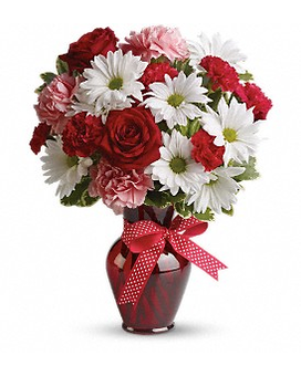 Hugs and Kisses Bouquet with Red Roses Flower Arrangement