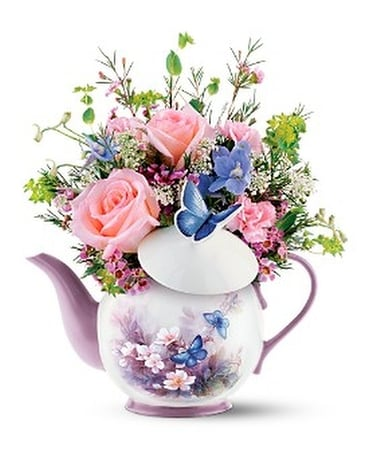 Blossoms & Butterflies teapot Flower Arrangement
