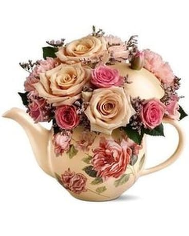 100th Anniversary teapot Flower Arrangement