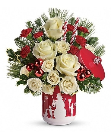 teleflora's falling snow bouquet Flower Arrangement
