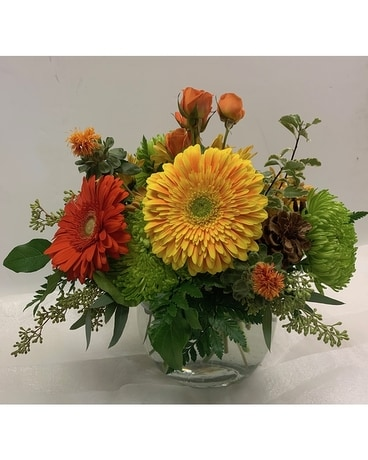 Bowl of Fall Flower Arrangement