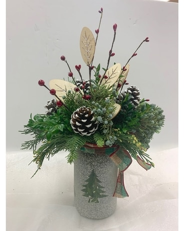 Winter Canning Jar Flower Arrangement