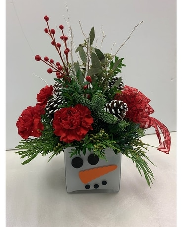 Whimsical Snowman Flower Arrangement