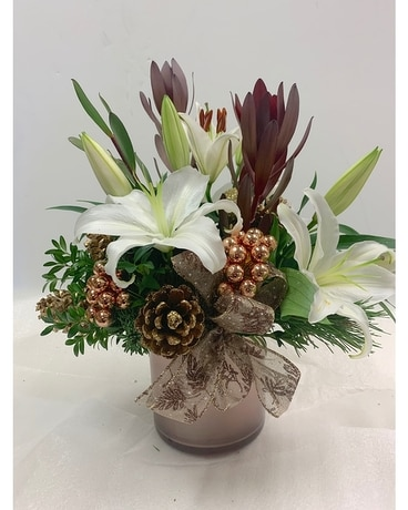 Rosy Holiday Flower Arrangement