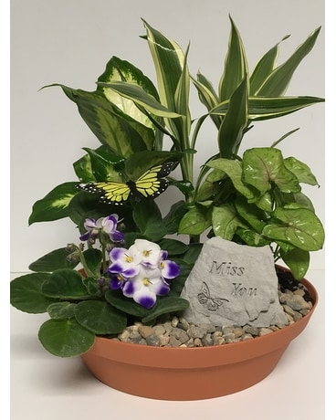 Miss You Garden Stone Dish Garden- 10 inch Planter