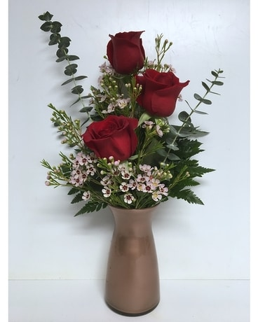 Rose Gold Romance - 3 Red Roses
