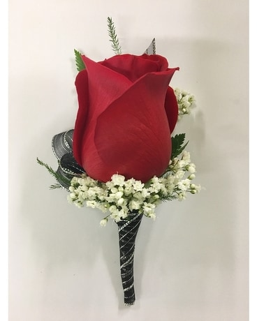Red Rose with Black and Silver Boutonniere Flower Arrangement