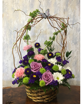 Willow Basket Arrangement-10 Inch Basket-One-Sided