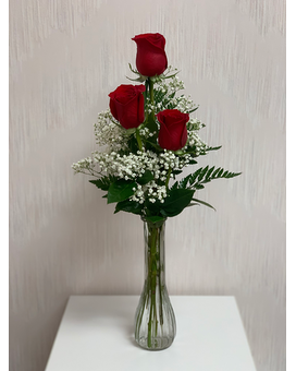 Trio Red Rose Budvase