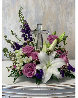 Crystal Cross with Lavender Roses