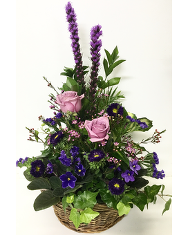 Violets and Fresh Basket Planter