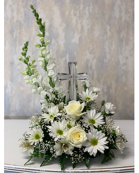 Purely White with Crystal Cross Arrangement