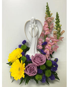 Porcelain Angel in Colorful Fresh Arrangement