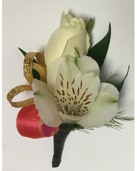 White Flowers with Dark Coral & Gold Boutonniere