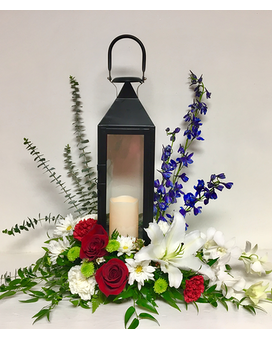 Manhattan Black Candle Lantern in Sympathy Floral