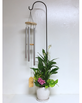Natural Pine Windchime in Plant Arrangement
