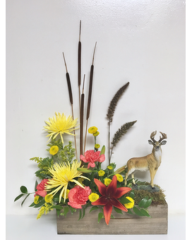 Keepsake Deer in Fresh Floral Arrangement