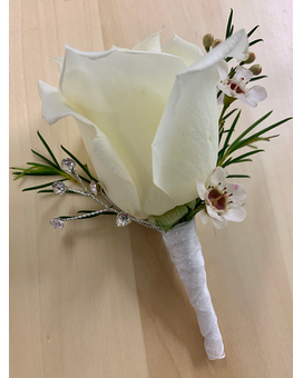 White Rose with Rhinestones Boutonniere Boutonniere