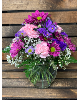 Purple Sky and Butterfly Flower Arrangement