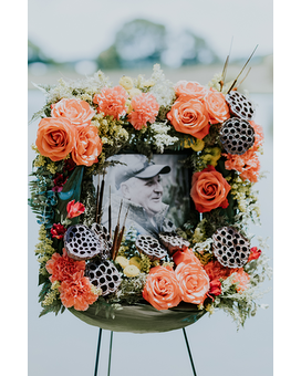 Moraine 24-inch Flower Frame on Easel Funeral Arrangement