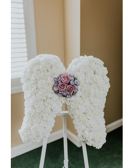 Celestial Angel Wings on Easel Funeral Arrangement