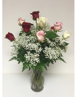 Mixed Dozen Roses Flower Arrangement