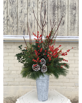 Winter Welcome Porch Pot Flower Arrangement