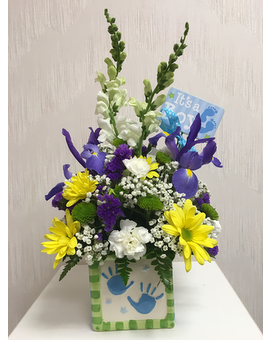 Baby Boy Block with Fresh Cuts Flower Arrangement