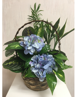 Living Basket Planter with Silk Blooms Plant