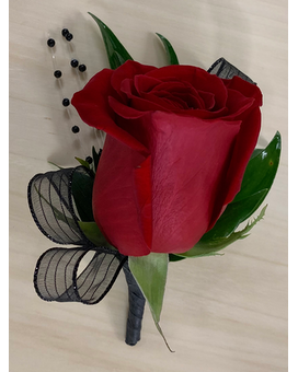 Red and Black Boutonniere Boutonniere