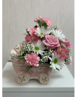 Precious Pram Musical Carriage Flower Arrangement